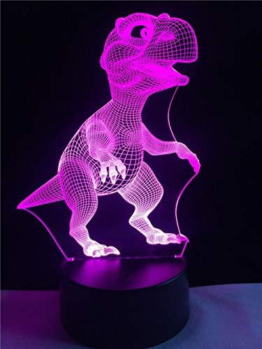 Animal pequeño dinosaurio lámpara 3D iluminación LED USB ambiente luz nocturna niños juguete Multicolor niños regalo