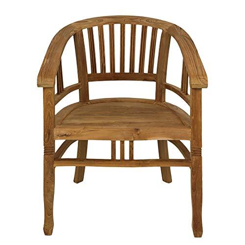 M&M m³ Armchair Cantik Sanded Stuhl mit Armlehnen, Teakholz, Natur, 60 x 50 x 84 cm
