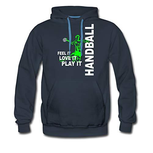 Spreadshirt Handball Feel It Love It Play It Handballer Männer Premium Hoodie, XL, Navy