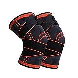GvvcH 1 par de rodilleras deportivas para hombres y mujeres con elástico presurizado, para fitness, baloncesto, voleibol, rodilleras, color rojo, S