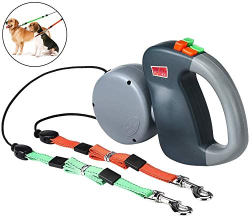 Wuudi Doppelte Einziehbare Hundeleine, Einziehbare Dual Doggie Pet Leash Automatische Hund Versenkbar Leine Hunde Keine Verwicklung für Kleine und Mittelgroße Hunde Wandern Joggen