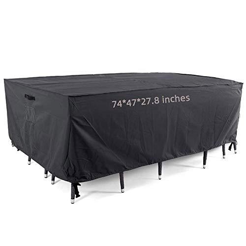 YLME Wasserdicht UV-Schutz Garden Furniture Cover Waterproof Breathable Oxford Anti-Aging Protective Cover for Garden Furniture Rectangular Seating Sets Garden Tables,74x47x27.8 inches