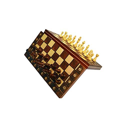3 IN1 Ajedrez Internacional de Ajedrez y Damas de Madera Backgammon con artículos de Entretenimiento de Juego de ajedrez Plegable (tamaño : 29cm)
