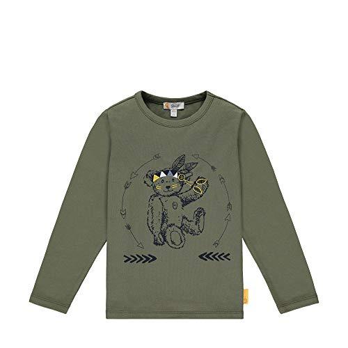 Steiff Jungen mit süßer Teddybärapplikation T-Shirt Langarm, Dusty Olive, 116
