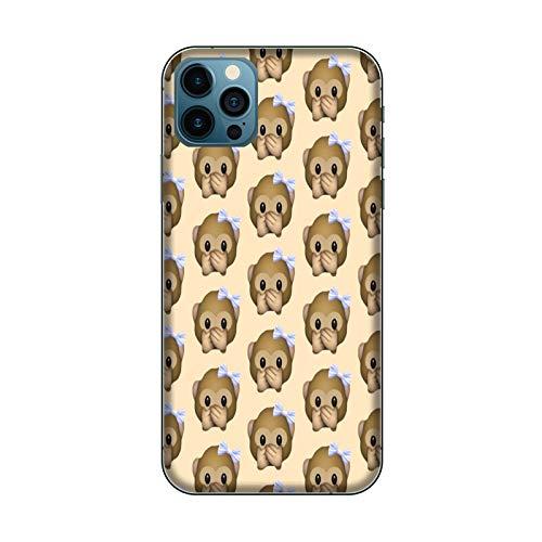 Funda iPhone 12 Carcasa Compatible para Apple iPhone 12 Whatsapp Emoticon de Mono pequeño no Habla/Gel de Silicona Suave TPU/Teléfono Hard Snap on Antideslizante Antideslizante Antiarañazos Res