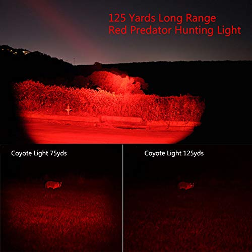 Red Light Torch, LED Hunting Torch 1000 Lumen Adjustable Focus Tactical Flashlight Coyote Varmint Hunt Torches with Scope Mount, Pressure Switch, for Night Vision, Hunting, Astronomy