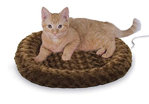 """K&H PET PRODUCTS Thermo-Kitty Heated Pet Bed, Mocha, 4W, Small (18"""" Round) (3601)"""
