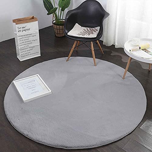 VIMODA Fellteppich Kunstfell Teppich Rund Imitat in Grau Dicht Flauschig Seidiger Glanz Hochflor (Ø 120 cm Rund, Silber)