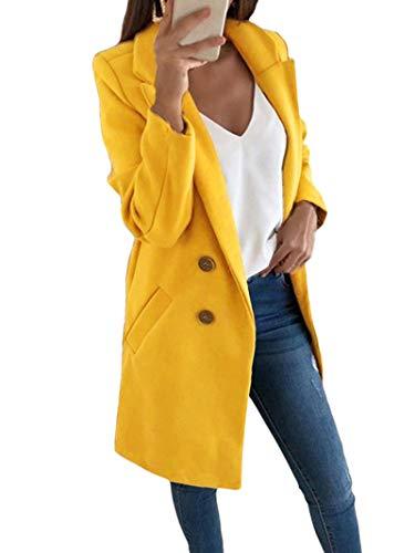 Onsoyours Damen Jacke Trenchcoat Blazer Mantel Winter Damen, modische Knöpfe, lange Jacke, Vintage Warm Langarm Wolle Gr. 36, gelb