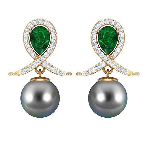 Rosec Jewels 14 quilates oro amarillo pera redonda Green Black Emerald Perla de Tahití Diamond