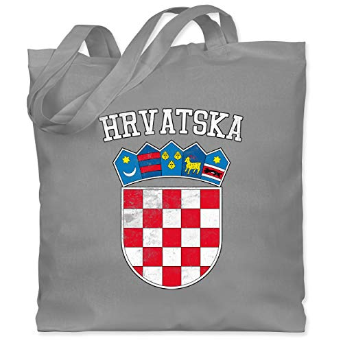 Shirtracer Fußball-Europameisterschaft 2021 - Kroatien Wappen WM - Unisize - Hellgrau - XT600_Jutebeutel_lang - WM101 - Stoffbeutel aus Baumwolle Jutebeutel lange Henkel