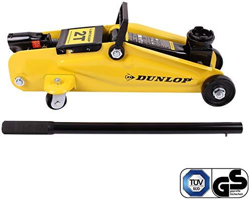 Dunlop H2JT Wagenheber Hydraulisch bis 2T, TÜV geprüft, Werkstatt & Hobby geeignet, Hydraulischer Auto & SUV Rangierwagenheber mit lenkbaren Rollen