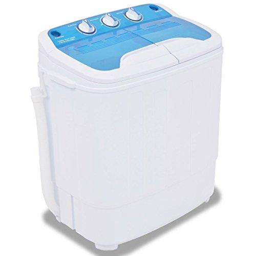 vidaXL Mini Lavatrice a Vaschetta Singola 2,6 kg con Timer Tubo di Scarico Leggera Portatile Salvaspazio Campeggio Camper in Plastica Blu e Bianco