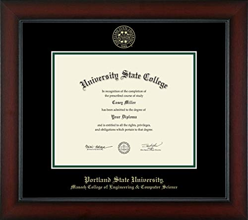 """Portland State University Maseeh College of Engineering & Computer Science - Officially Licensed - Gold Embossed Diploma Frame - Diploma Size 10"""" x 8"""""""