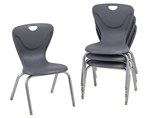 FDP 16' Contour School Stacking Student Chair, Ergonomic Molded Seat Shell with Powder Coated Silver Frame and Swivel Leg Glides; for in-Home Learning or Classroom - Gray (4-Pack)