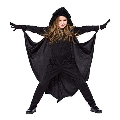 N/A. Disfraz de murcilago volador para nios, unisex, de felpa con capucha, con guantes, manga larga, pelele negro
