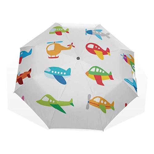 Paraguas de Viaje Favorito de los niños Avión de Juguete Antivibrador Compacto 3 Fold Art Ligero Paraguas Plegables (impresión Exterior) Lluvia a Prueba de Viento Paraguas de protección Solar