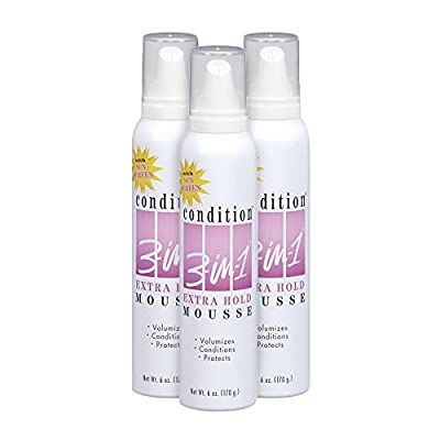 Condition 3-in-1 Maximum Hold Hair Mousse, 6 Ounce (Pack of 3)