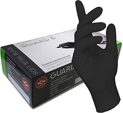 200 Stck - Einweghandschuhe von GUARD 5 - Schwarze Nitril-Handschuhe puderfreie Tätowierhandschuhe Kochhandschuhe (8 / M)