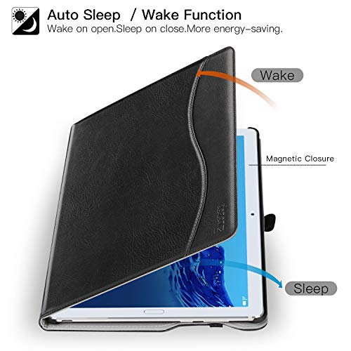 Ztotop Hülle für Huawei MediaPad M5 /M5 Pro 10.8 Zoll 2018, Premium Kunstleder Leichte Case mit Auto Schlaf/Wach Funktion und Pen Halter, für Huawei MediaPad M5 10.8 Zoll 2018 Modell,Schwarz - 5
