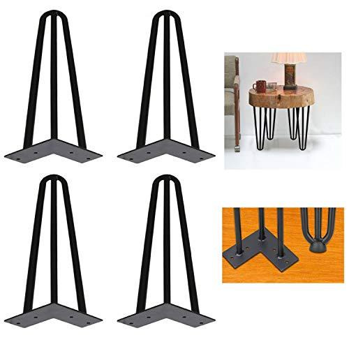 4x Hairpin Leg Tischbeine |12mm Stahl | für Schrank, TV-Schränke, Couchtisch, Nachttisch | 3 Streben, 15cm(6 zoll)