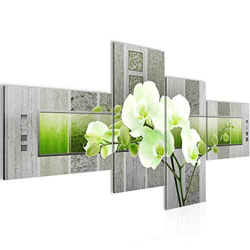 Bilder Blumen Orchidee Wandbild 150 x 60 cm Vlies - Leinwand Bild XXL Format Wandbilder Wohnzimmer Wohnung Deko Kunstdrucke Grün 4 Teilig - MADE IN GERMANY - Fertig zum Aufhängen 204645b