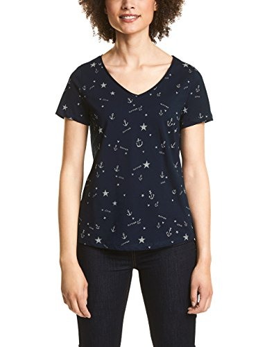 Street One Damen 312359 T-Shirt, Mehrfarbig (Deep Blue 21238), 42