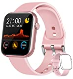WWDOLL Smartwatch, Orologio Fitness Tracker Uomo Donna IP67 Cardiofrequnzimetro da Polso Contapassi e Calorie Activity Tracker Smart Watch Bluetooth per Android iOS (Rosa)