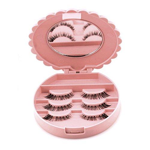OVERMAL Acrylic Cute Bow False Eyelash Storage Box Makeup Cosmetic Mirror Case Organizer