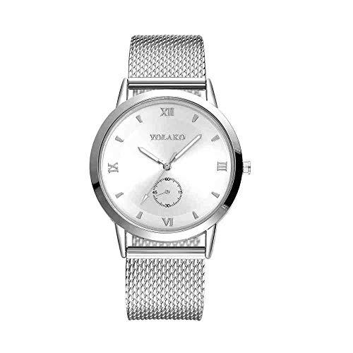 DECTN Reloj de Pulsera Relojes Moda Alta dureza Cristal Espejo Mujeres Cinturón de Malla Wath C Erkekler Horloges Vrouwen, Plata