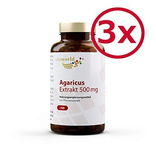 Vita World Pack di 3 Agaricus estratto 500mg 3 x 100 Capsule Vegetariano 20% polisaccaridi Agaricus Blazei Murrill (ABM) Made in Germany