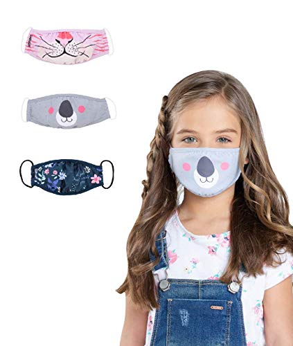 OFFCORSS 3Pcs Face Mask for Kids Teens Reusable Washable Fluid Resistant Fabric Protection Size S Gift