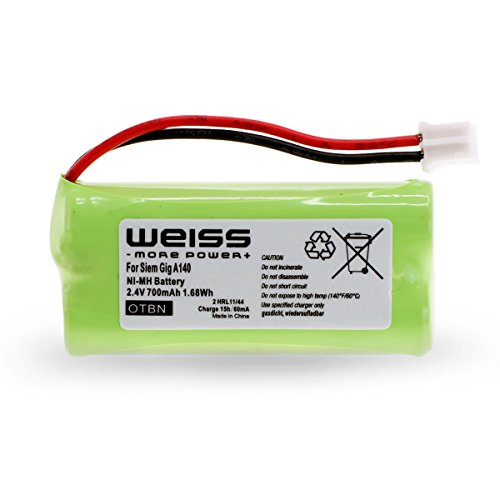 Batería Weiss para Siemens Gigaset A12,A120,A14,A140,AS140,AL4H, A145,AS15,A160,A165,A240,A24,A245,A260, A26,A265,Q063, T-Com Sinus 100, Universum CL15,SL15(reemplazo de: V30145K1310X383 y S30852D1640X1) de 700mAh Ni-MH
