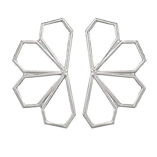 Tpocean Pendientes de pétalos de plata con forma de rombo geométrico de acero inoxidable para mujer