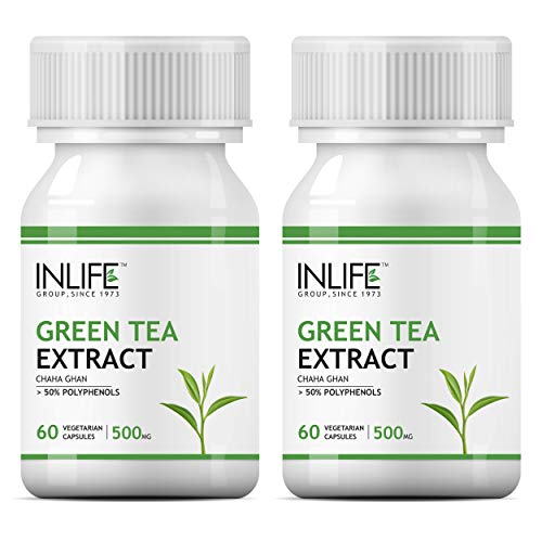 INLIFE Green Tea Extract for Weight Loss (Fat Burner) & Antioxidant 50% Polyphenols, 500 mg – 60 Vegetarian Capsules (Pack of 2)