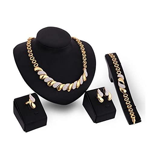 ZCPCS Forme Conjuntos de Joyas de Nigeria para Mujeres Africa Beads Juego de Joyas Dubai Oro Boda Joyería Nupcial Joyas Sistemas para Mujer Pendientes de Collar (Color : Gold)