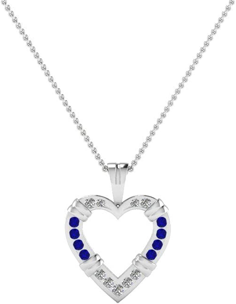 Silvercartvila 0.68 Ctw Round Sim Blue Sapphire Diamond 18K Gold Over Silver Heart Pendant With 18 Chain