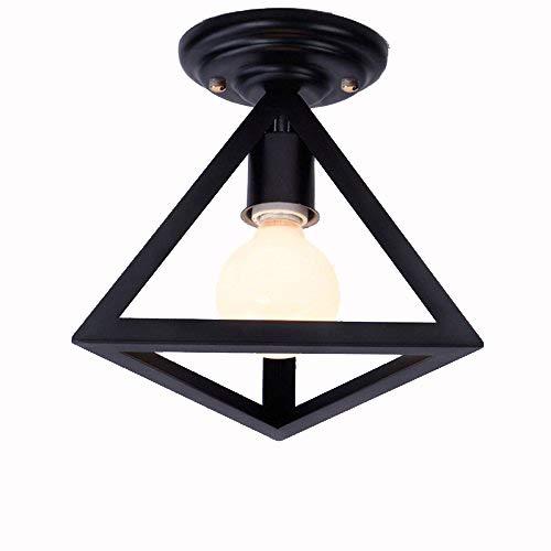 Retro Design plafondlamp, industriële stijl, vintage, vloerlamp, plafondverlichting, ijzeren lampenkap, zwart, kooi, plafondlamp voor balkon, loft, gang, slaapkamer, creatieve antieke lamp E27