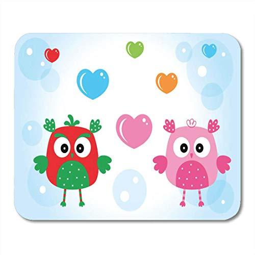 Mauspads, Bubble Animal Niedliche Liebe Eule Paar Doodle Bird Cartoon Compact Das Mauspad für PC Unisex,18x22cm