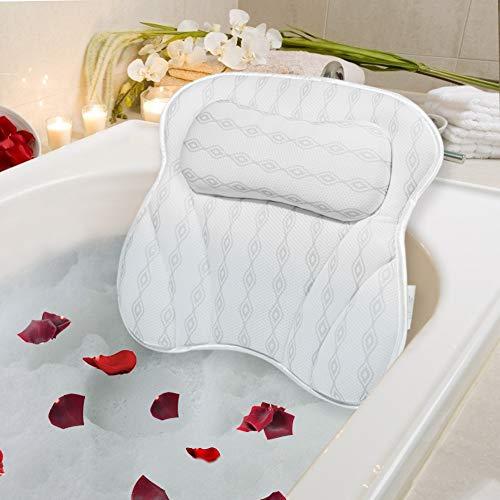 Mr.Bathif Badewannenkissen,Komfort BadeKissen mit 6 Saugnäpfen 3D Mesh Nackenkissen Badewanne Kopfkissen für Nacken,Kopf, Rücken, Schulter