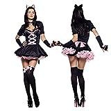 Disfraz De Halloween, Disfraz De Gatito para Mujer, Disfraz De Gato Adulto, Niña, Animal, Cosplay, Carnaval, Mascarada, Juego De Escenario, Vestido De Fiesta (Color : A, Size : One Size)