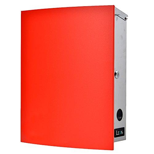 LEON (レオン) MB4504ネオ 郵便ポスト 壁掛けタイプ ステンレス製 鍵付き おしゃれ 大型 ポスト 郵便受け (マグネット付き MAIL BOXシート無し) レッド