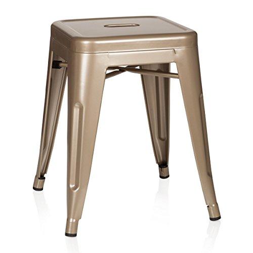 hjh OFFICE 645003 Hocker niedrig VANTAGGIO Metall Gold Sitzhocker im Industry-Design, stapelbar