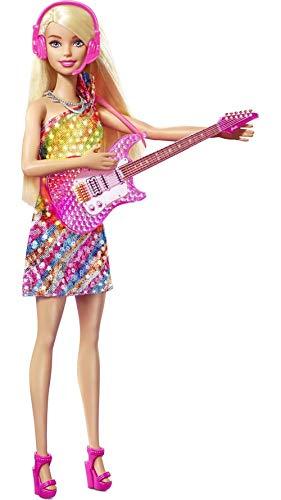 Barbie - Grande Città, Grandi Sogni Bambola Barbie Malibu Bionda Alta 29,21 cm Canta con Microfono e Chitarra, Luci e Suoni e Tanti Accessori, Giocattolo per Bambini 3+Anni, GYJ21
