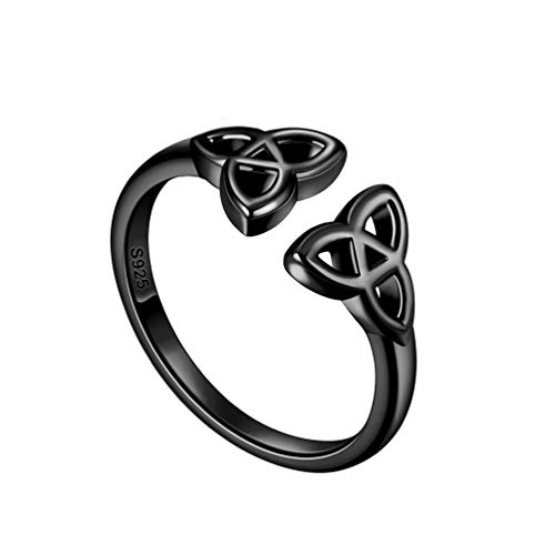 Black Celtic Ring for Men Women Unisex 925 Sterling Silver Adjustable Celtic Trinity Knot Band Ring Irish Jewelry Christmas Gift FR0005K