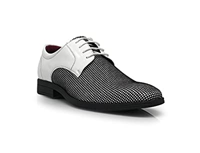 Enzo Romeo DK08 Mens Black White Patent Classic Oxford Lace Up Tuxedo Dress Shoe Checker Print
