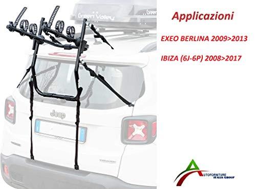 Autosuministros italianos portabicicletas ensamblado y listo para usar (3 bicicletas) para portón...