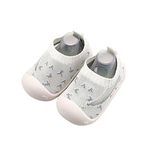 Calcetines transpirables para niños y niñas, zapatos para aprender a andar, antideslizantes, calcetines de malla, suela suave, zapatos de bebé, zapatos de interior para niños pequeños, Blanco, 14