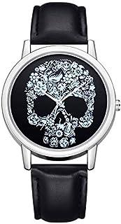 QiKun-Home Relojes de Pulsera de Cuarzo con patrón de Cabeza de Calavera, Reloj de Horas de Moda Simple para Mujer, Reloje...