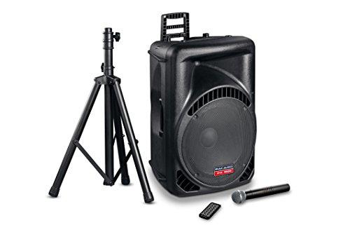 Mac Audio PA 1500 | Aktiver High-Power 2-Wege PA-Lautsprecher mit Funk-Mikrofon, Stativ, Bluetooth & USB | Ideal für Geburtstag, Hochzeit, Party – 1 Stück schwarz